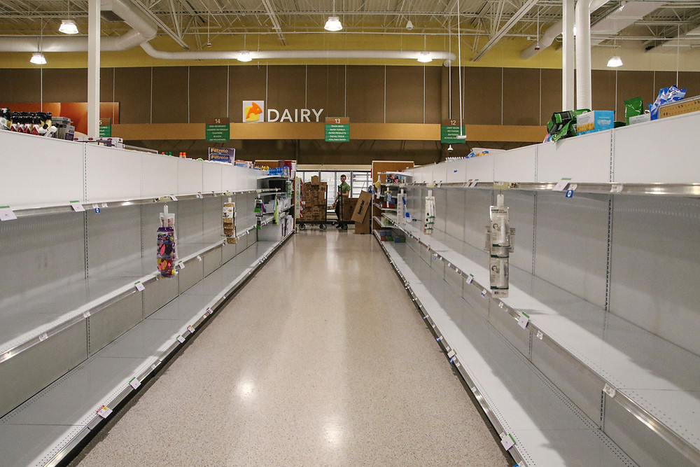 Pandemic Grocery shelves empty