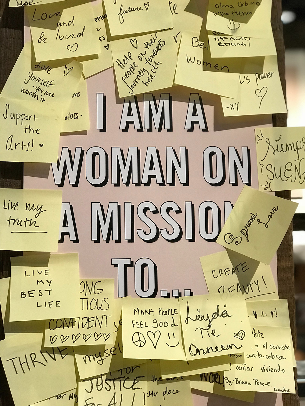 mission board with sticky notes