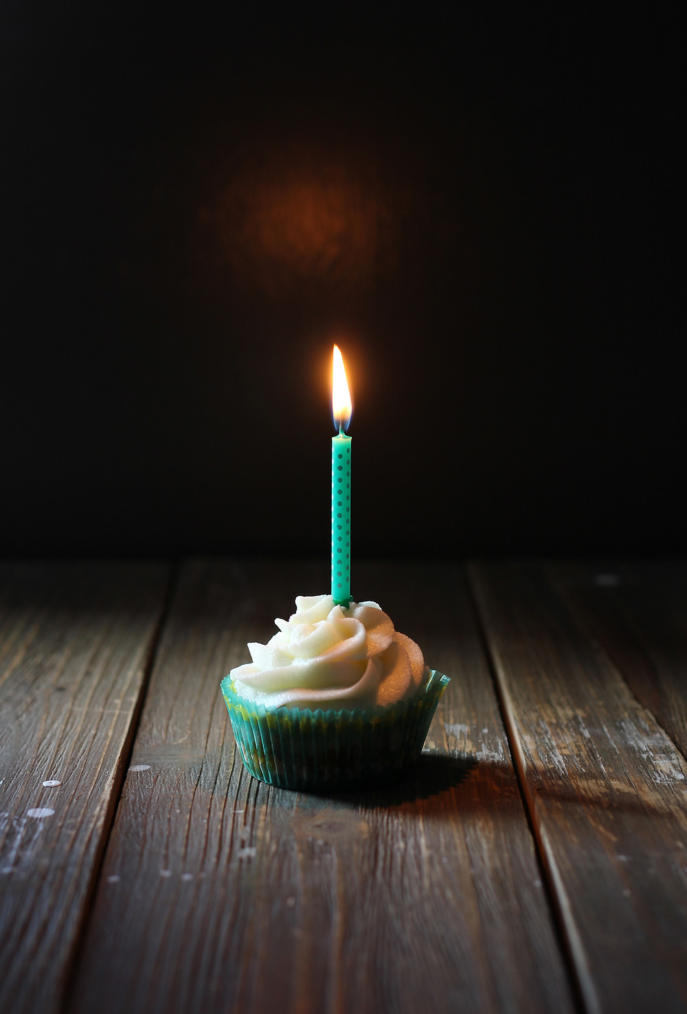 picture of a single candle on a cupcake