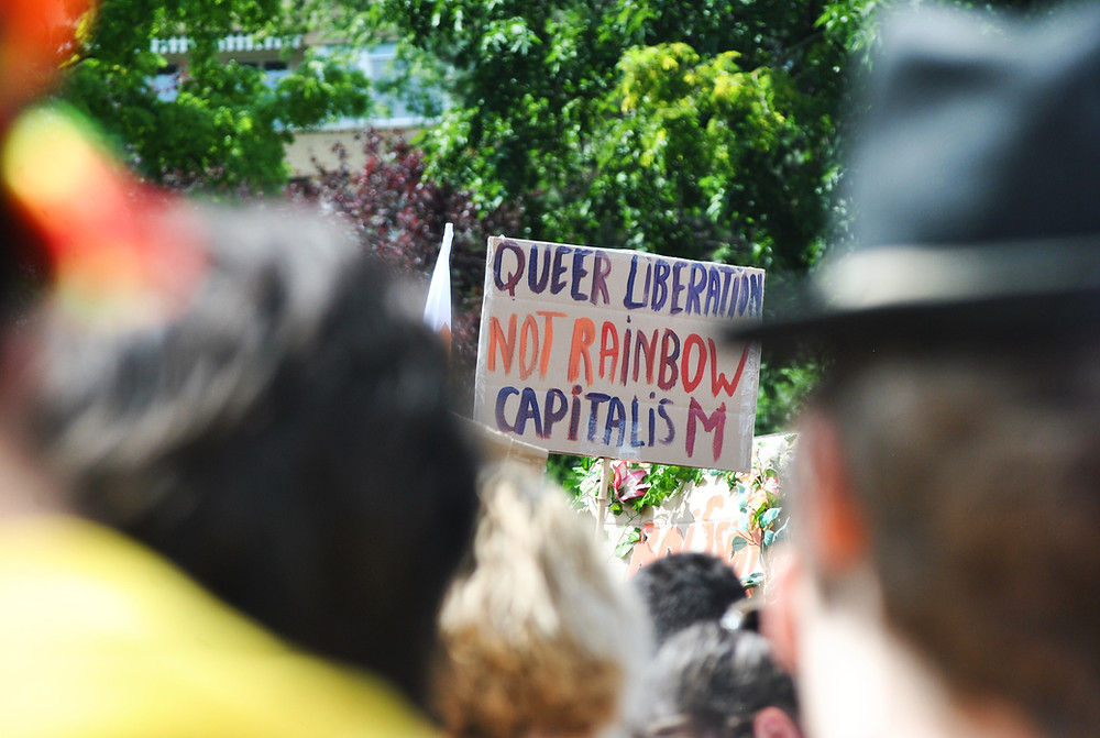 "A sign reading ""Queer Liberation, not rainbow capitalism"" is viewed through a sea of people."