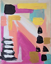 Abstract spainting of shapes: pinks, blue, yellow, black, gold and white, Image by Geordanna Cordero