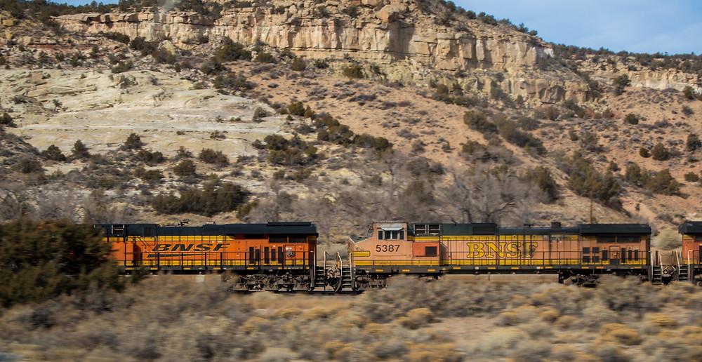 Train going through the mountains in Arizona