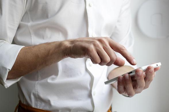man using mobile card reader