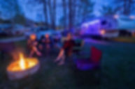 RV Park guests at campfire