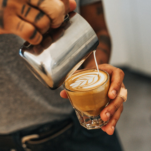 CORTADO. 2 oz coffee and 3 oz steamed milk.