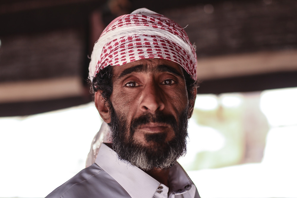 Bedouin man with a headscarf and beard
