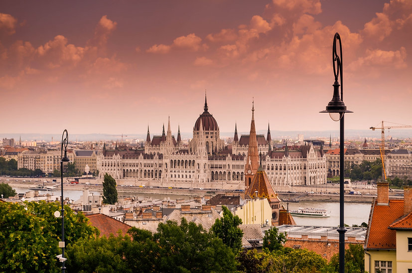 Budapest Views for morning photos - Parliament from Fisherman's Bastion