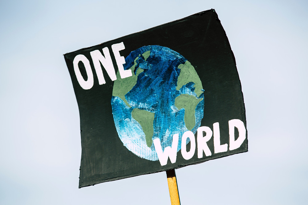 Sign with a painted image of Earth with the words One World written around it
