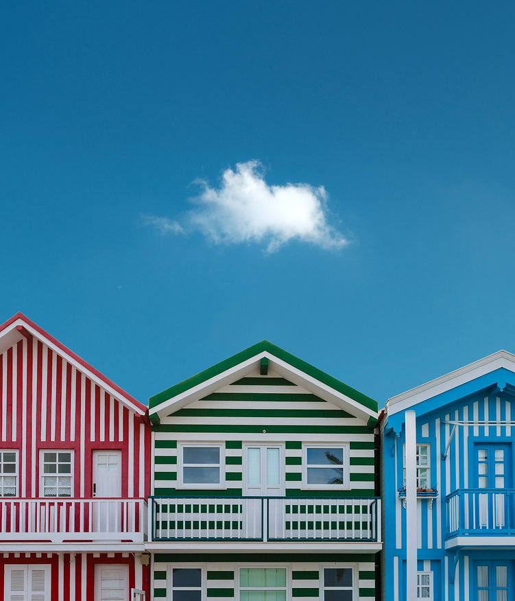 Traditional beach houses stripes Portugal