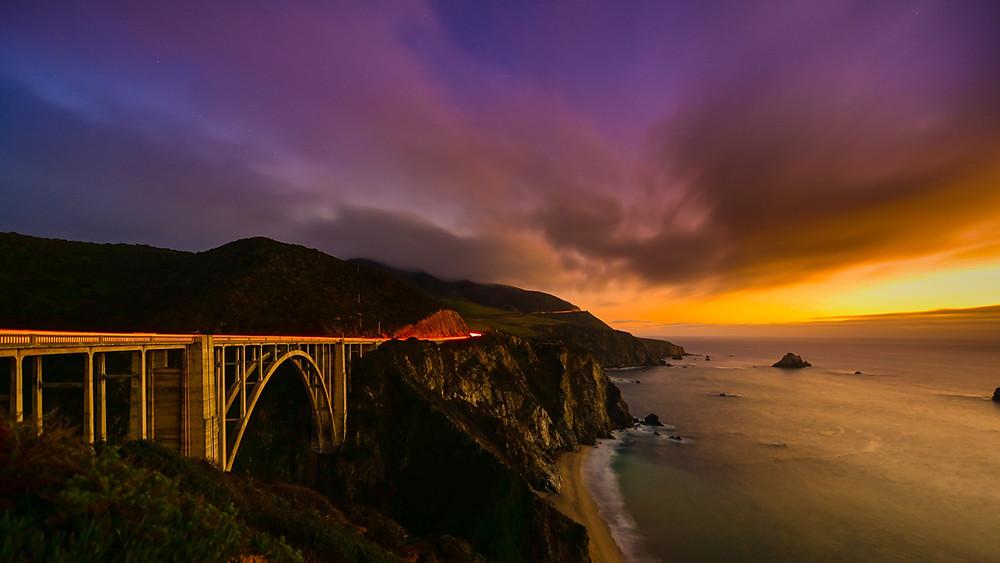 Pacific Coast Highway views of Oregon coast, California coast, and California highway