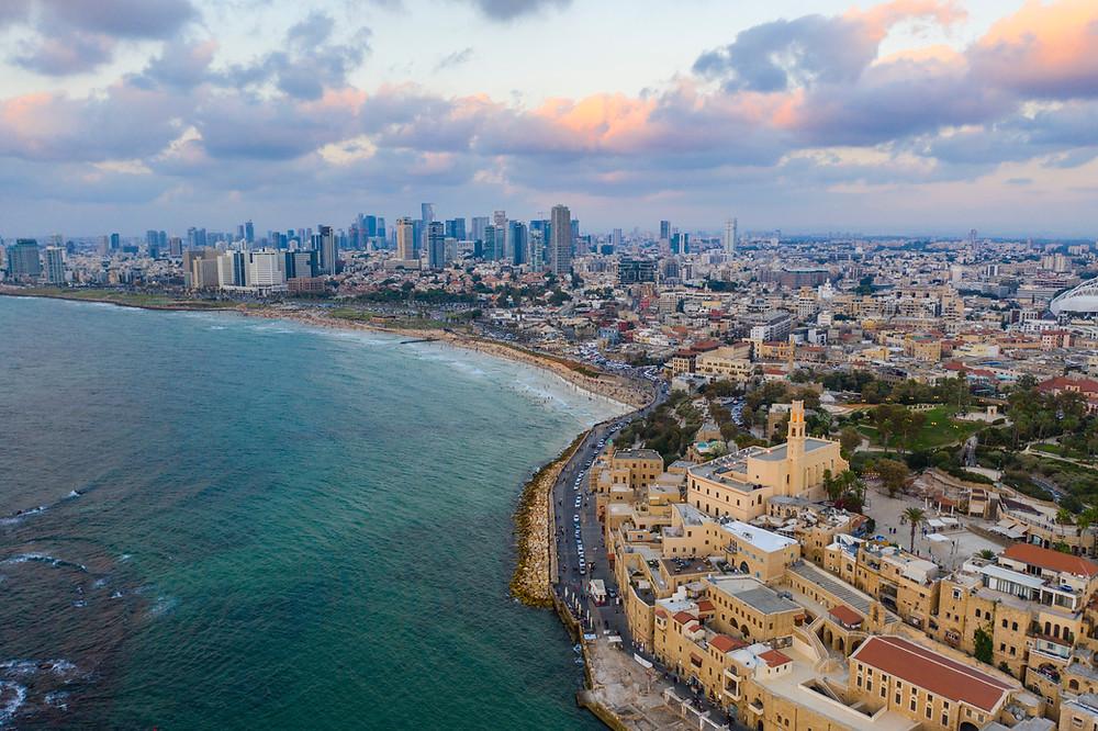An aerial view of the beaches of Tel Aviv