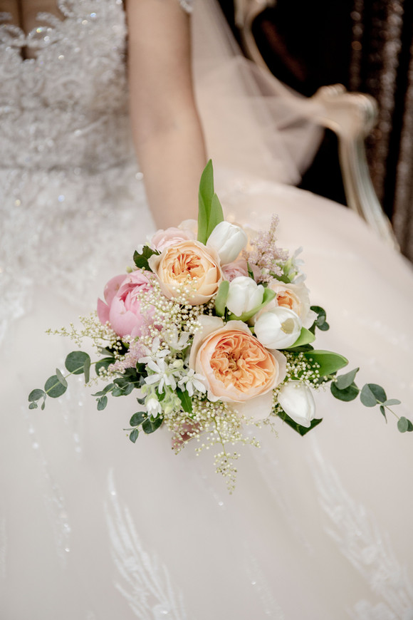 Peonies and tulips bridal bouquet
