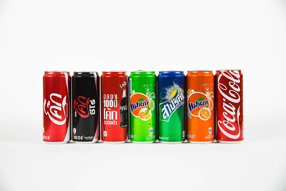 Soda cans lined up