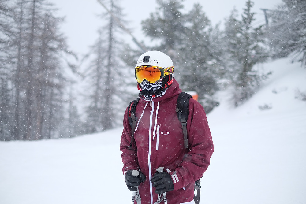 guy in snow with winter gear on