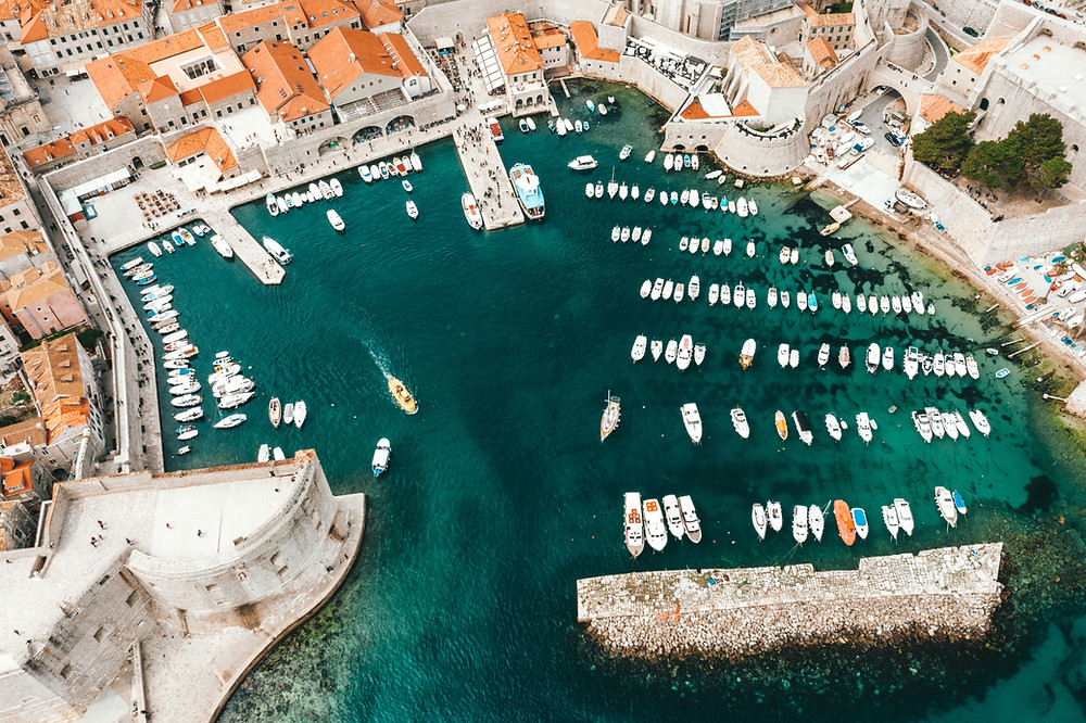aerial view of Dubrovnik harbor
