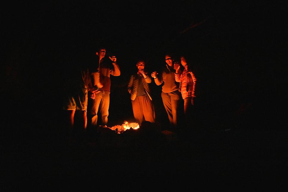 Enjoy a camp fire with friends