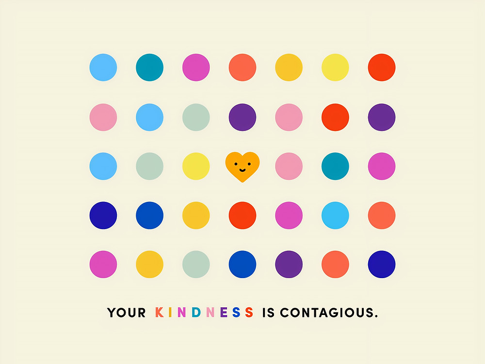 multicoloured dots with an orange smiley heart in the centre, slogan: Your kindness is contagious