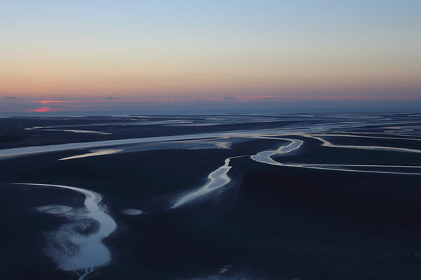winding river in sunset