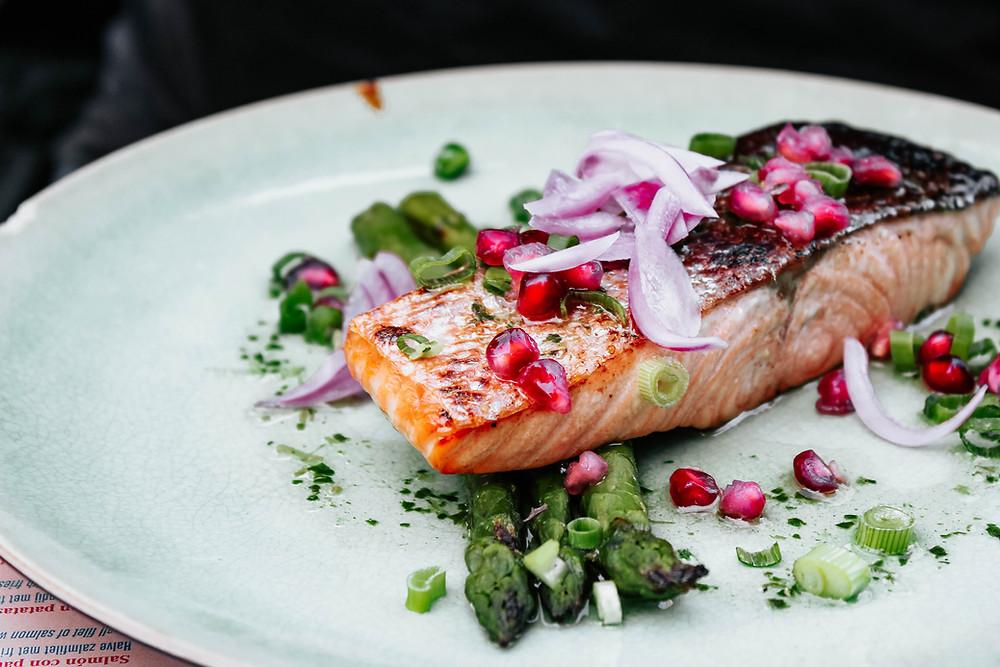 salmon baked healthy pomegranate asparagus dinner