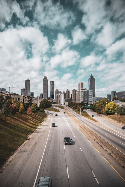 Downtown Atlanta Interstate 75/85 Highway with cars driving.