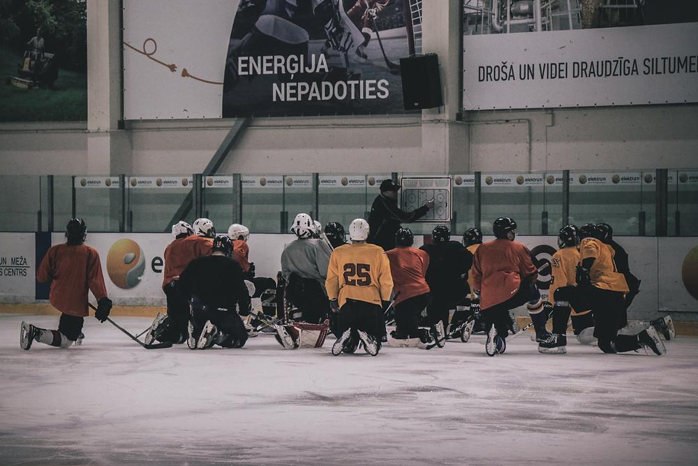 Kids at hockey practice