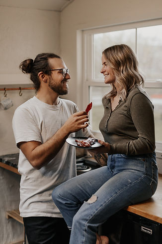 Couple eating in first home
