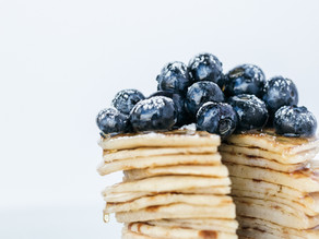 Banana Blueberry Greek Yogurt Pancakes