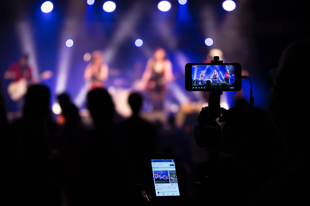 Phone live streaming a concert