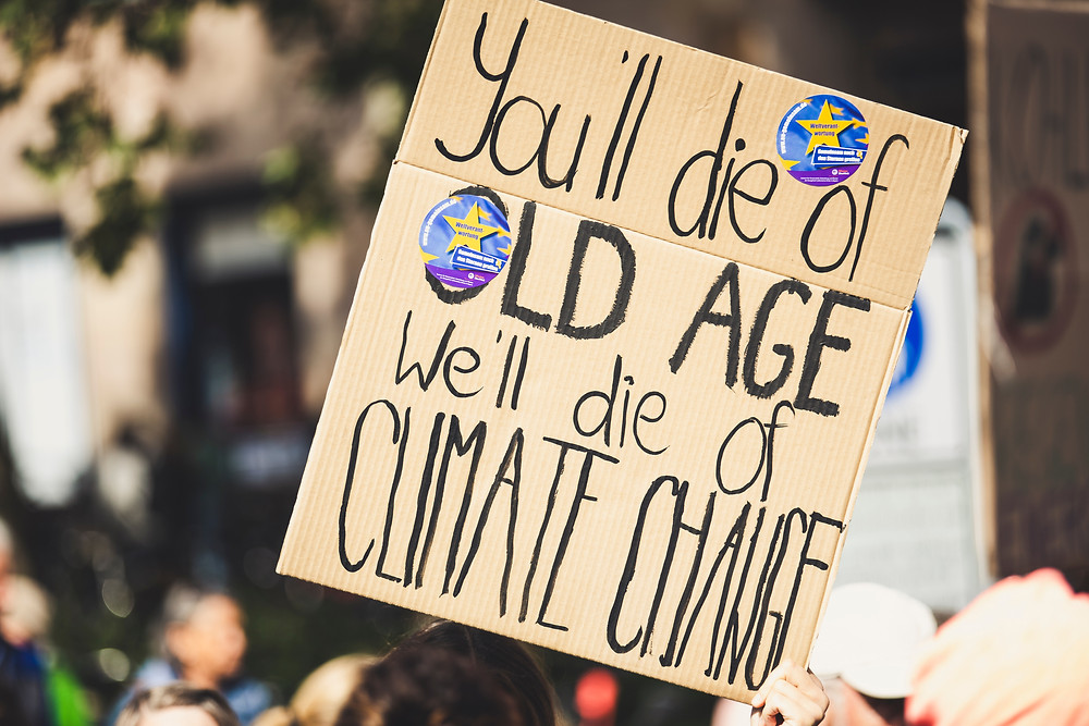 "Cardboard sign at rally ""You'll die of old age. We'll die of Climate Change"