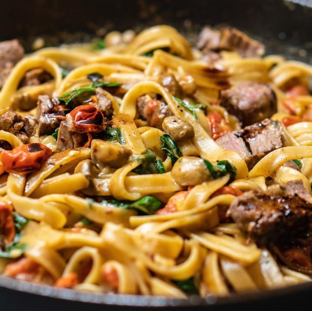 Mushroom Cream Veggie and Steak Pasta