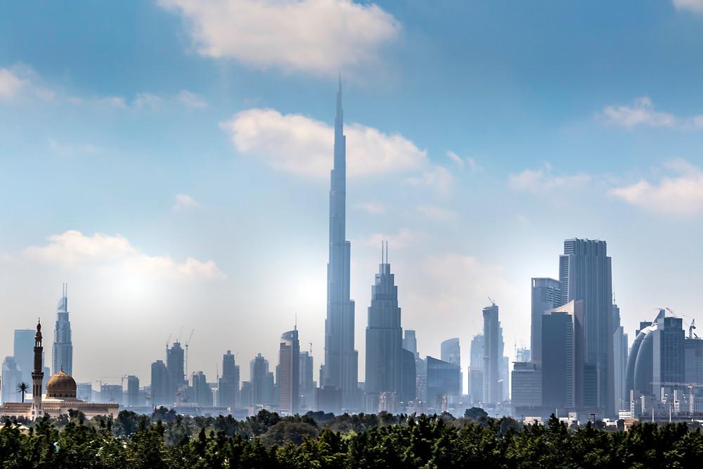 Dubai Bridge and the Dubai Fountain UAE
