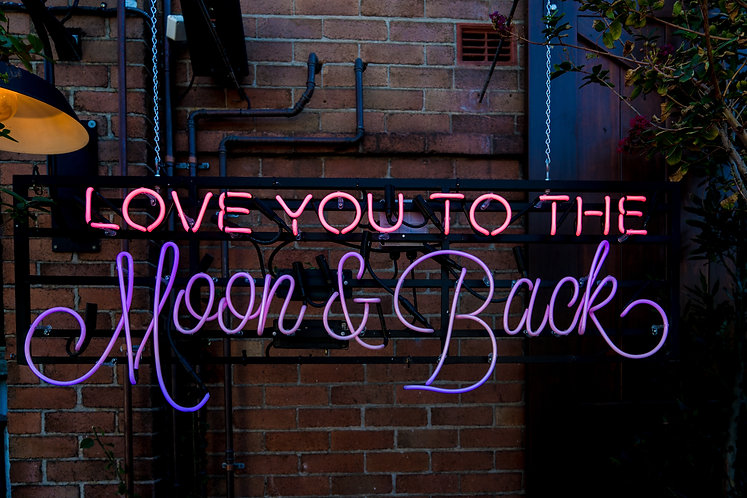 Love you to the Moon and Back Custom Glass Neon Sign