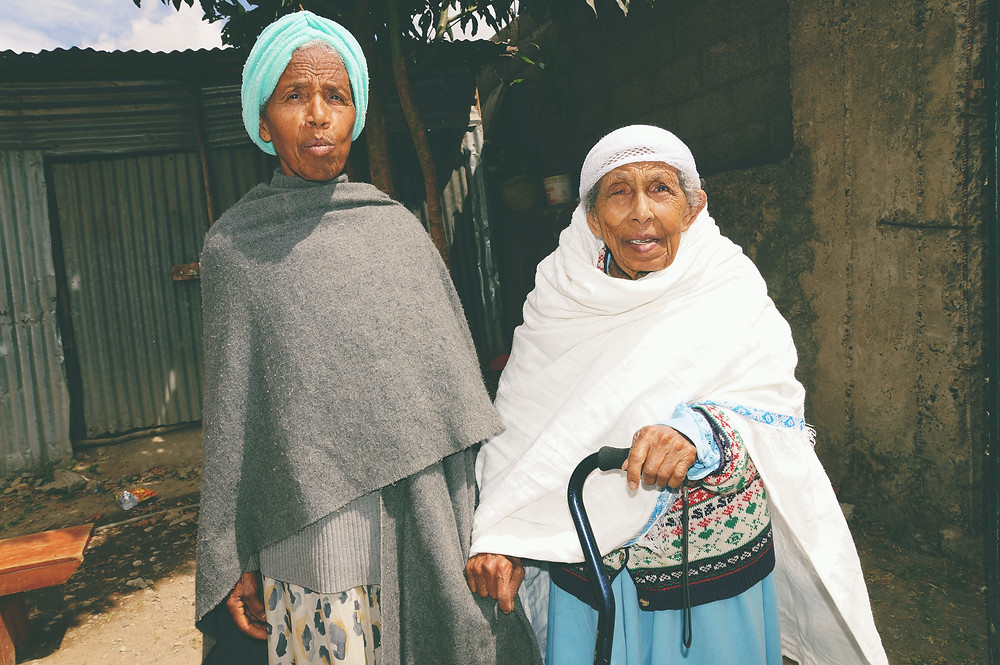 Two Ethiopian women with their hair covered