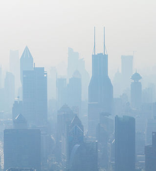 City Skyscrapers in Smog