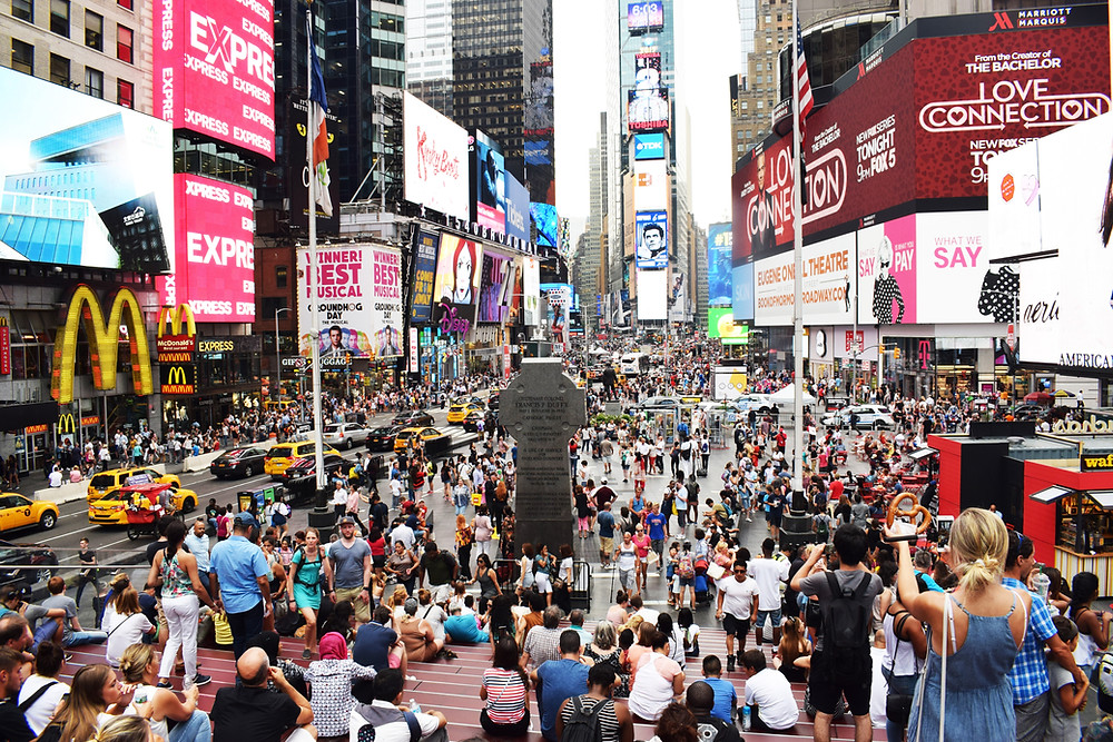 Crowded Times Square Wide Shot