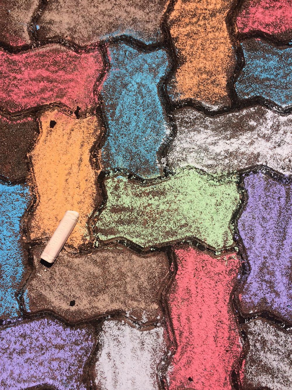 Chalk-coloured pavers