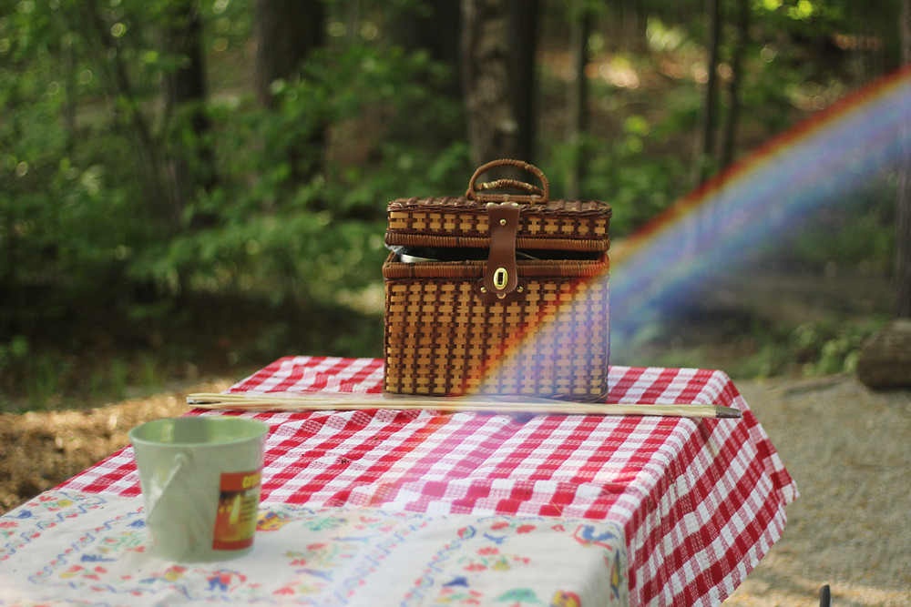 Picture of a basket on a bench covered in a red plaid tablecloth in a wooded area.