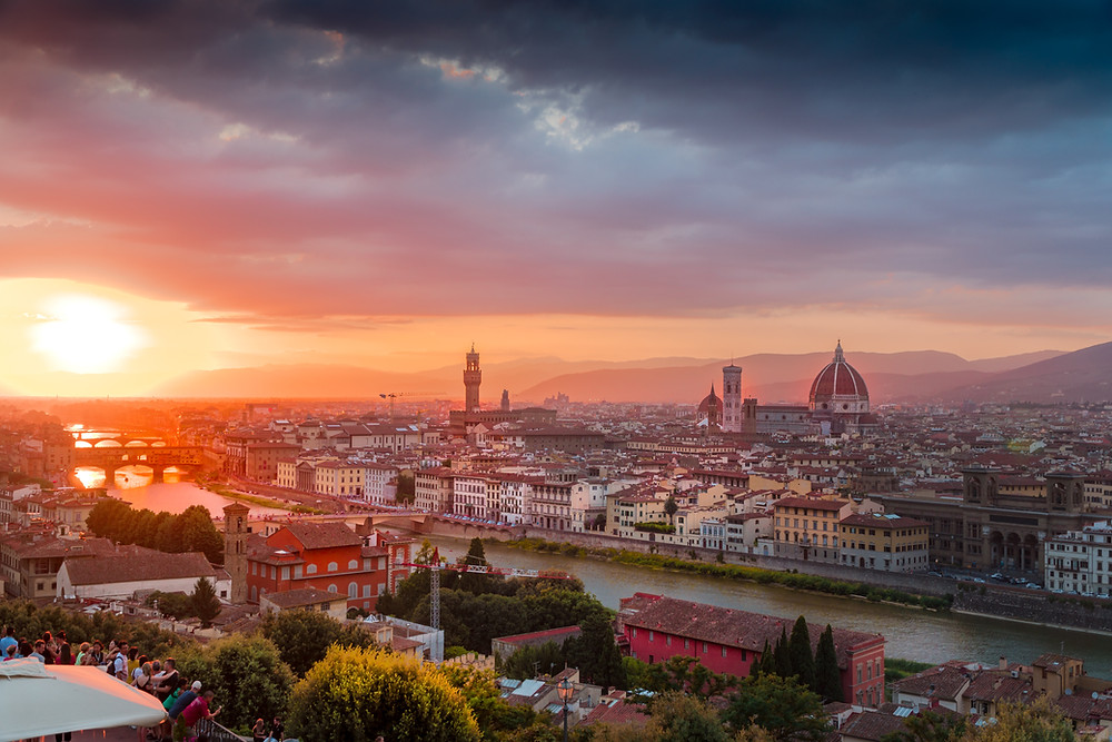 Sunset in Florence, Europe's most romantic city