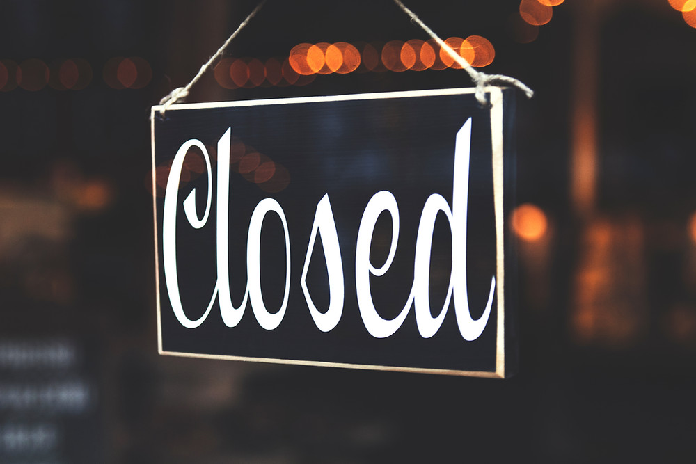 Image of a closed shop sign