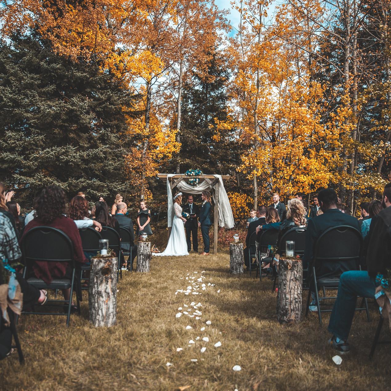 Outdoor micro wedding ceremony