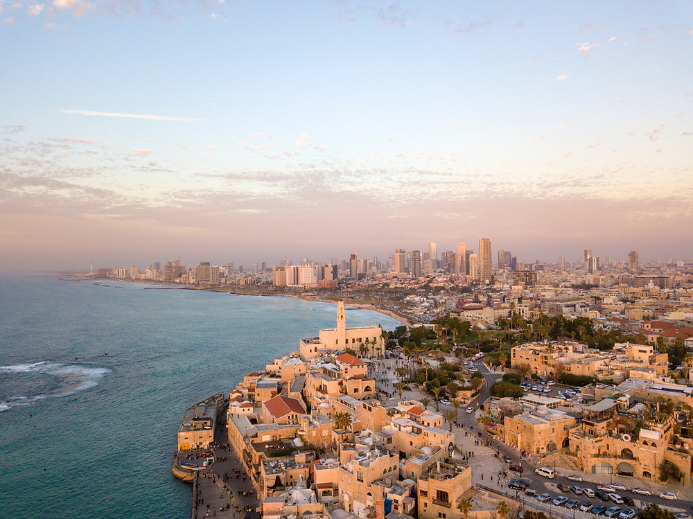 Aerial view of the Mediterranean Sea, Yafo, and Tel Aviv.