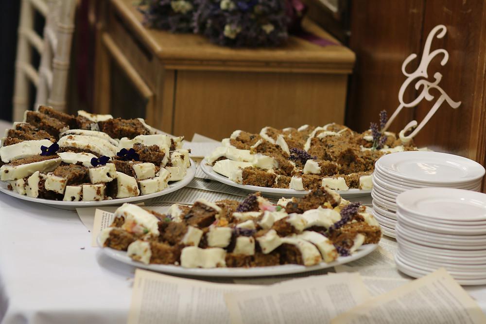 Wedding Cake Slices Ready For Freezing