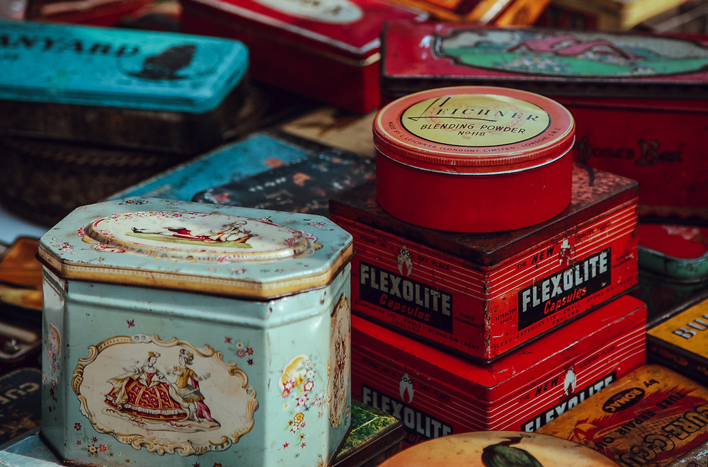 A  bunch of old colorful tins