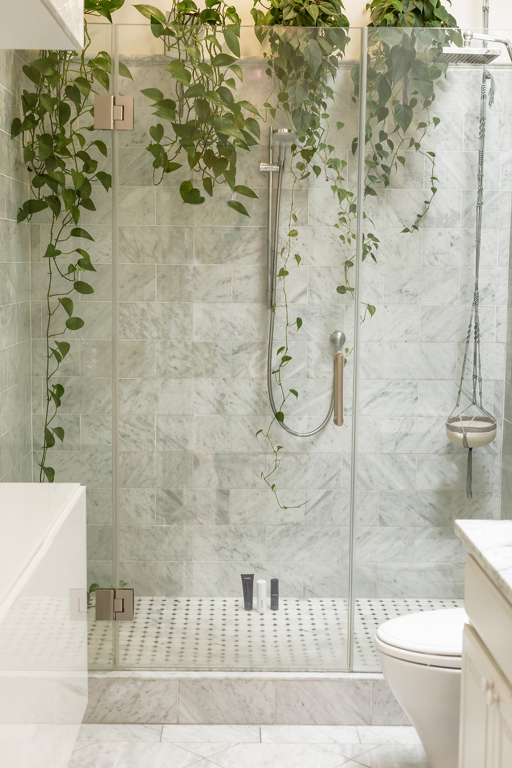 A clean and tidy bathroom with green pothos hanging inside the shower. The marble tiles give a luxurious feel and the minimal products makes the space look neat and tidy.