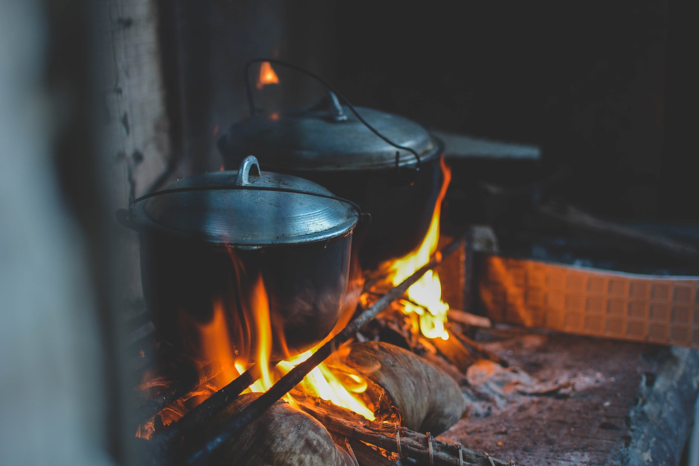 Two poike pots on the fire