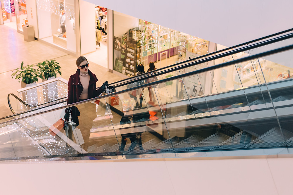 Secret Shopper on an escalator