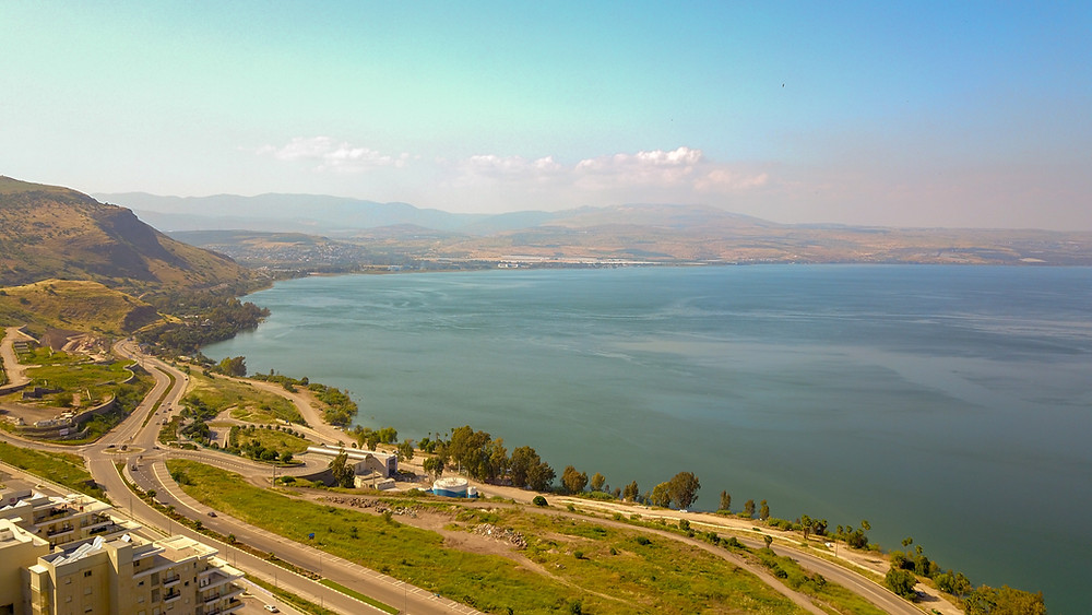 An aerial view of the Kinneret