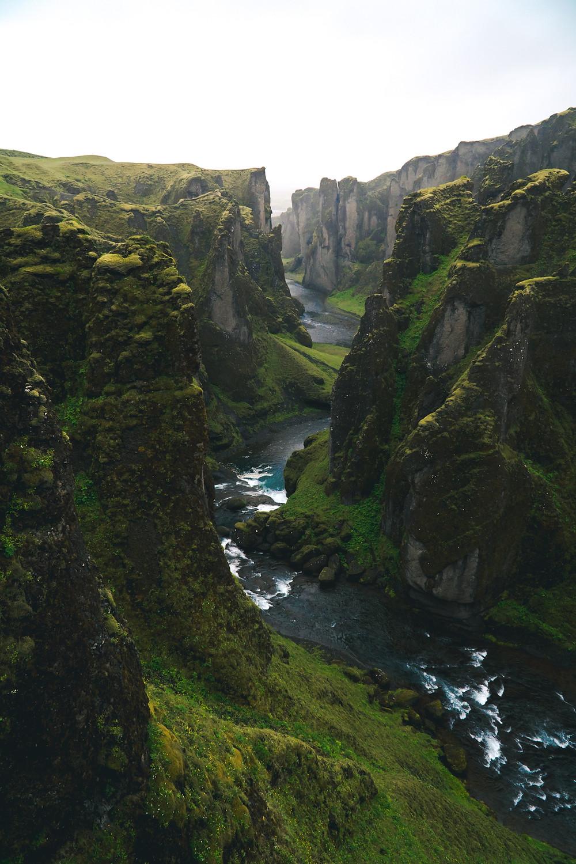 the Fjaðrárgljúfur canyon in Iceland