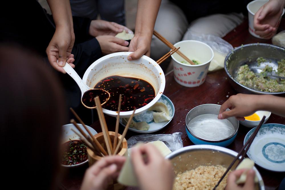 local people making dumplings