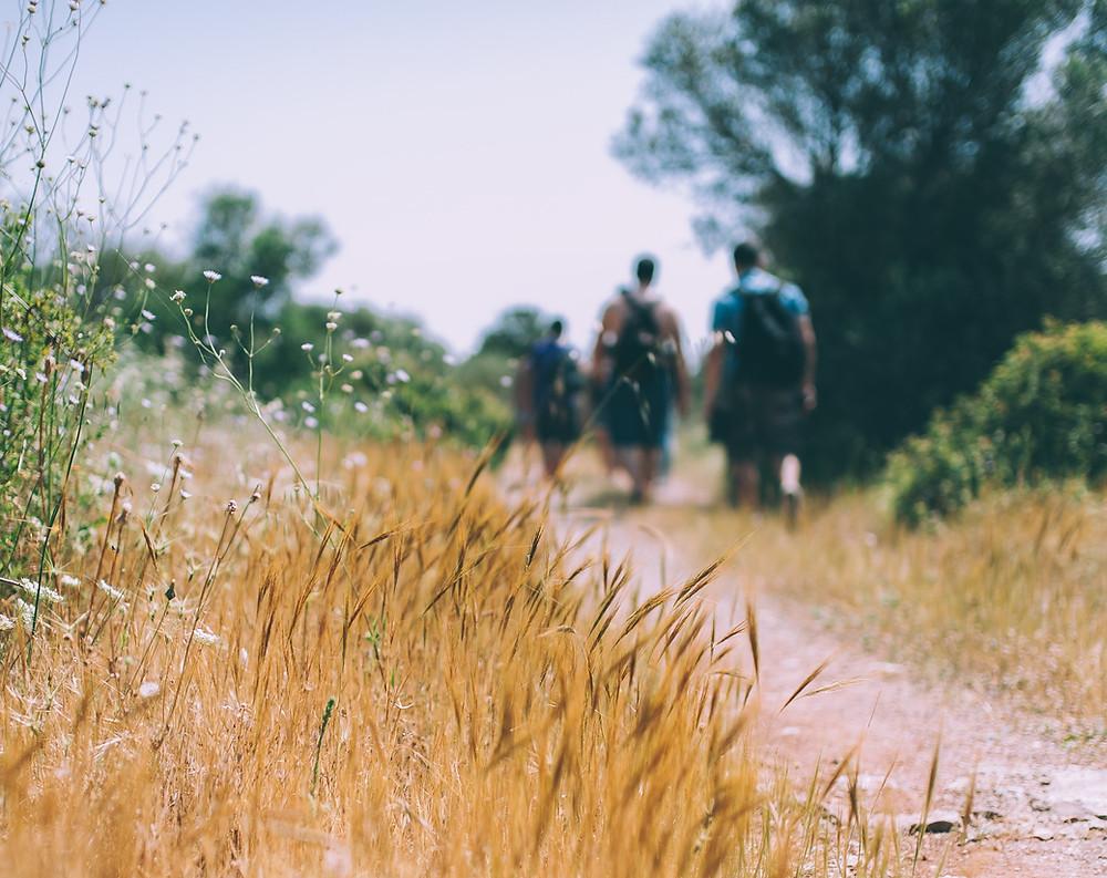 Hiking on a prairie trail